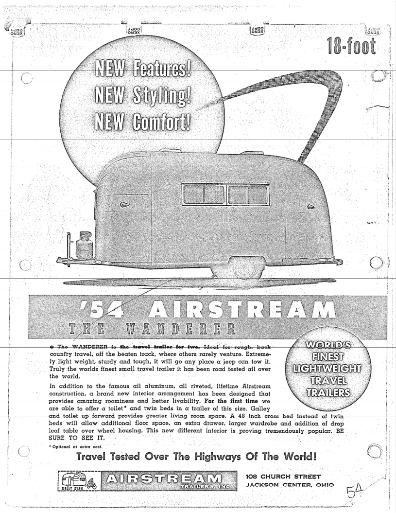 Airstream Wanderer sales brochure