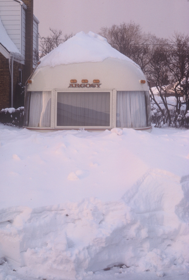 Argosy trailer after the April snowstorm of 1975