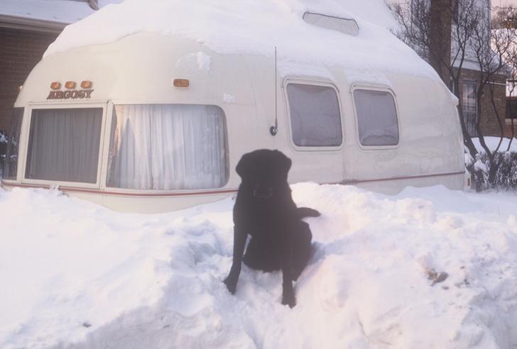 Argosy trailer buried in snow