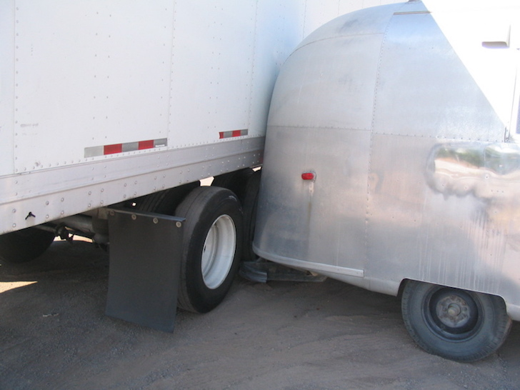 Close call with semi and Airstream trailer
