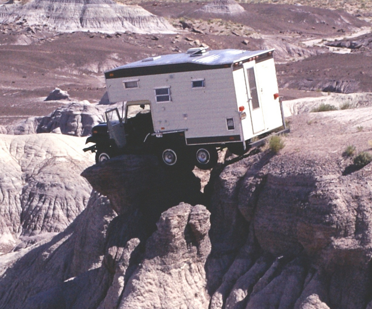 Close up of the camper on the rocks