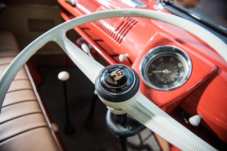 Close up of vintage VW steering wheel