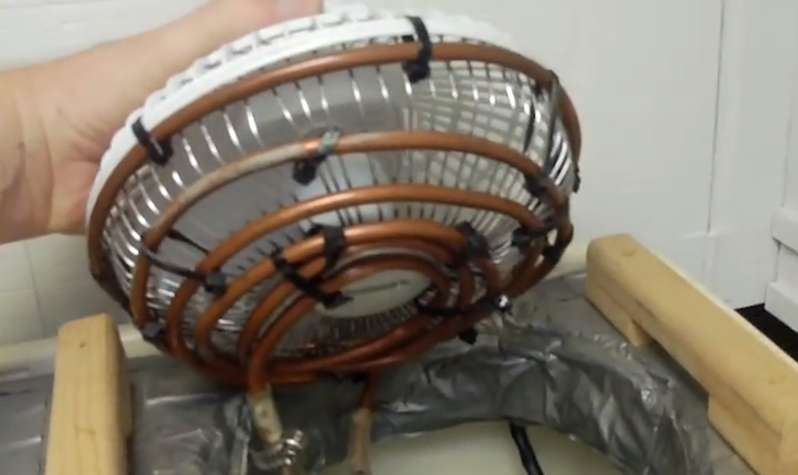 Copper coiling added to front of fan