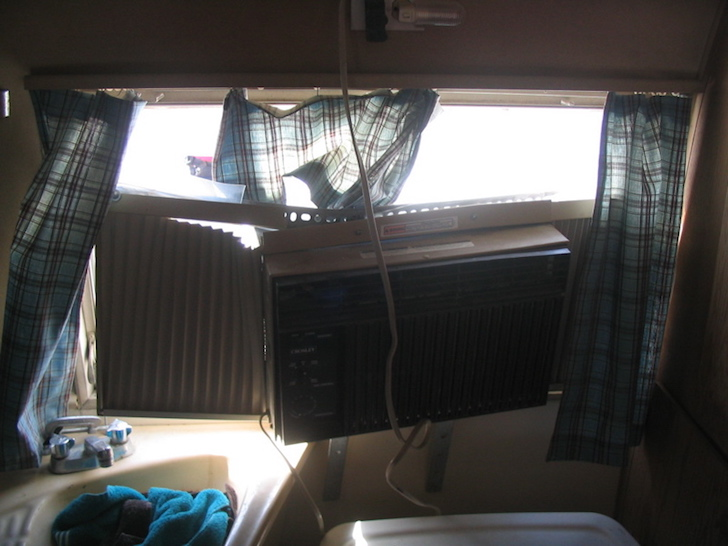Damage from the inside of the vintage Airstream