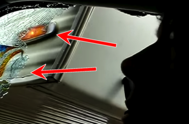 Fifth wheel trailer breaks glass on tow vehicle cab