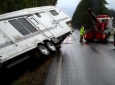 Black Ice Caused This Truck And Fifth Wheel Trailer To Flip Over Into A Ditch [VIDEO]