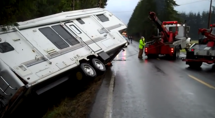 Black Ice Caused This Truck And Fifth Wheel Trailer Crash