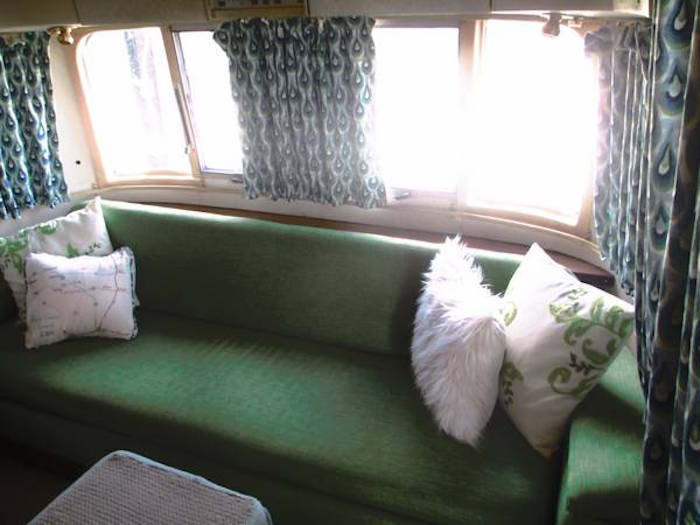 Front pull out bed in a vintage Airstream