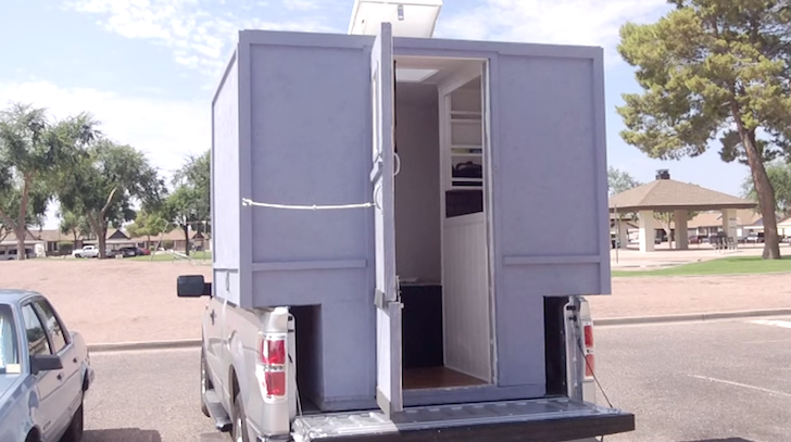 Homemade truck camper with diy air conditioner simple homemade truck camper with diy air conditioner solutioingenieria Images