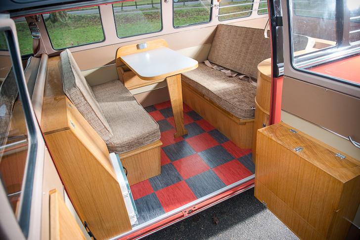 Interior of a vintage Type 2 VW Samba