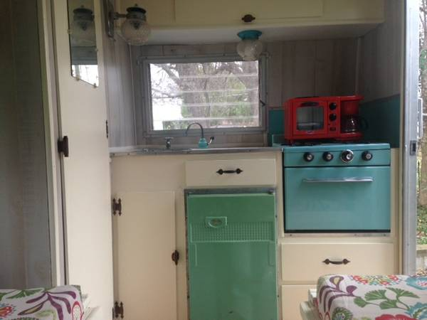 Kitchen area of a 1960 Mobile Scout trailer
