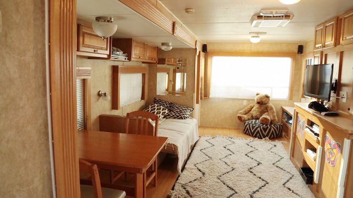 Main living area in trailer