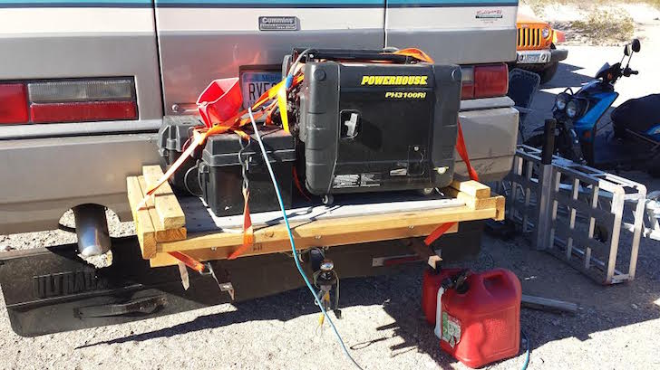 RV generator and gas cans