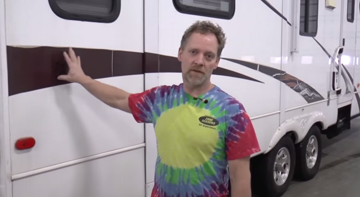 Removing decal adhesive from an RV