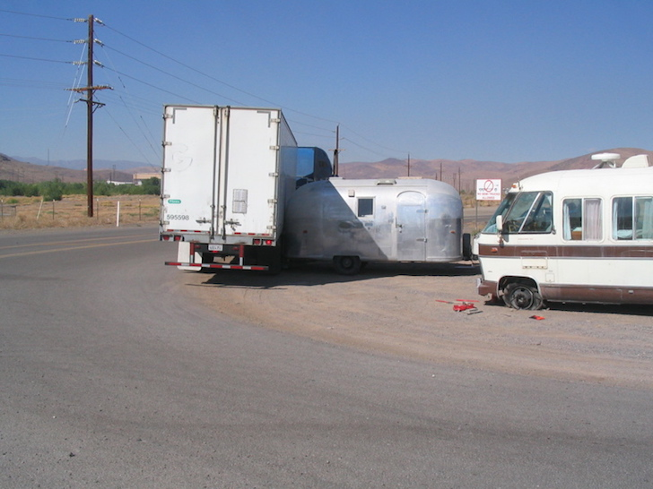 Semi trailer hitting Airstream trailer