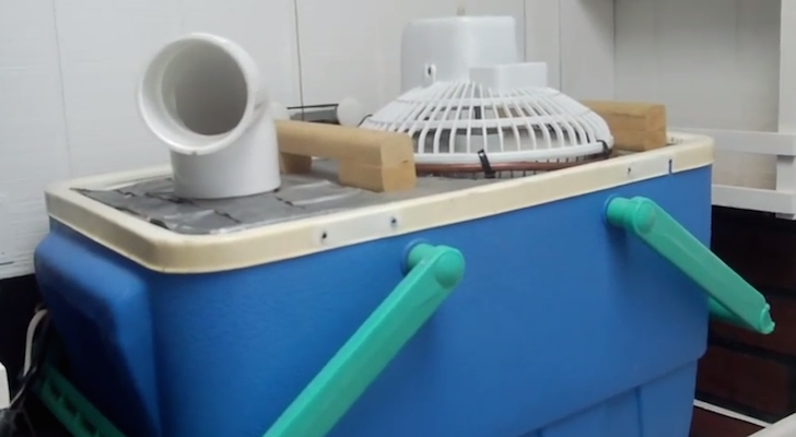 Side view of DIY air conditioner