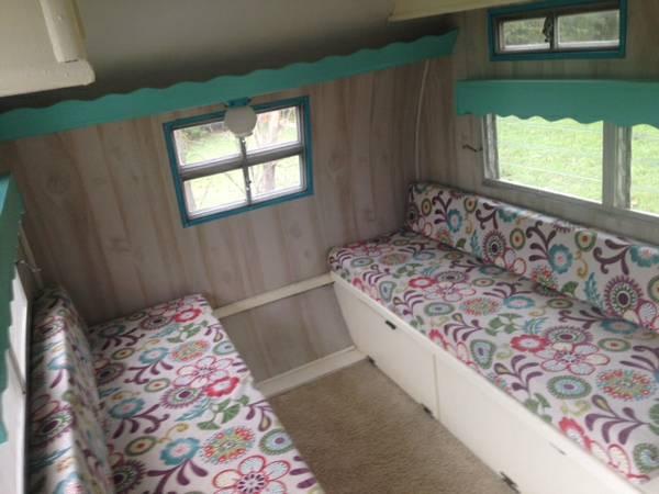 Sitting area inside Mobile Scout camper