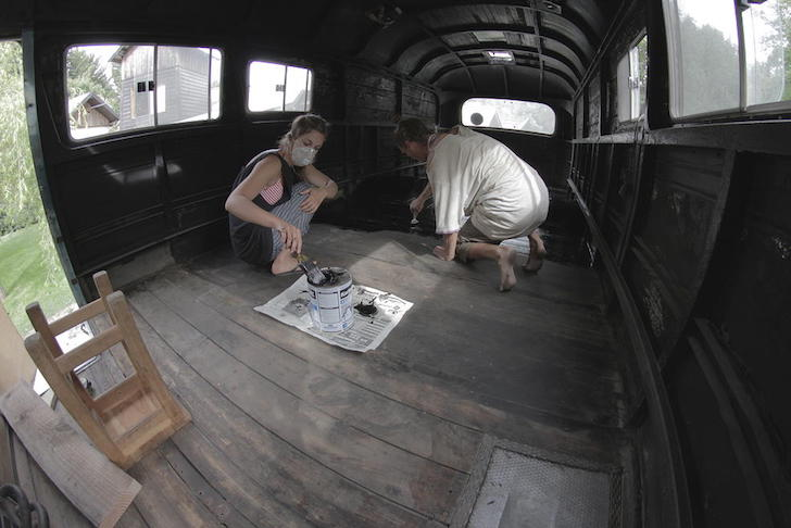 Staining the wood floor
