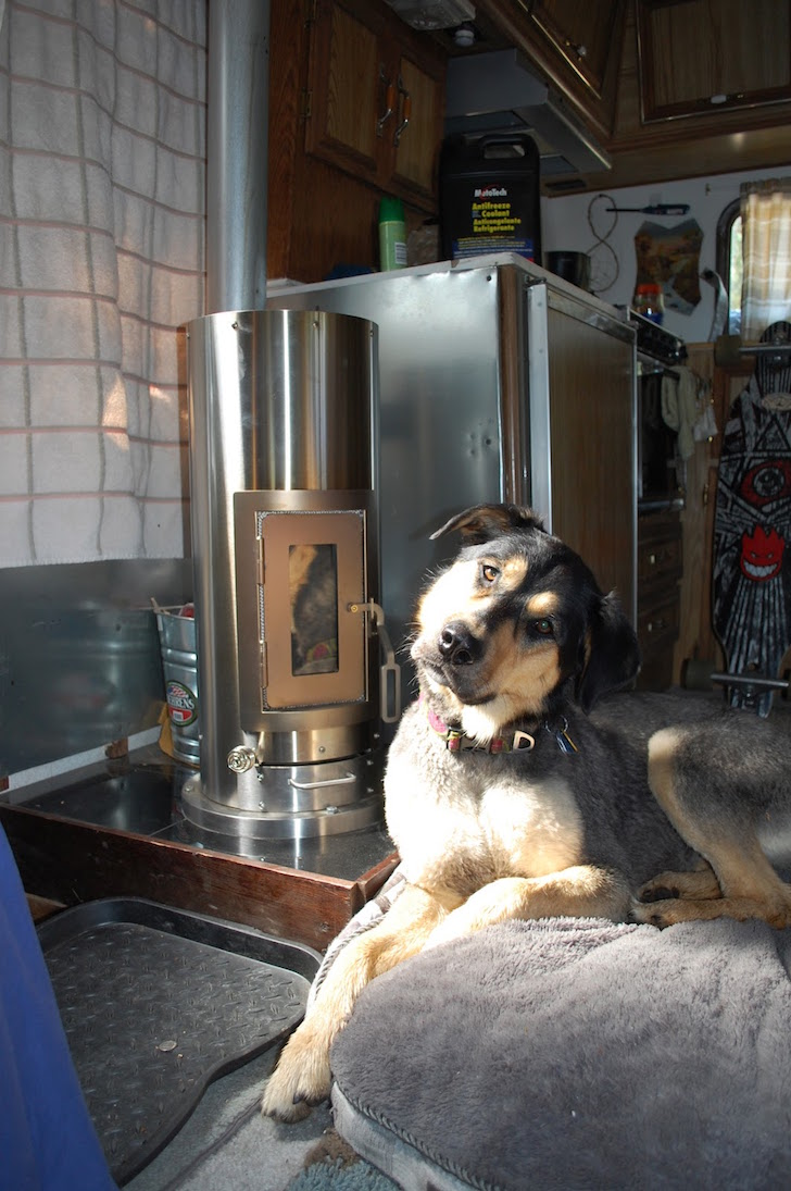 The dog seems happy with the stove