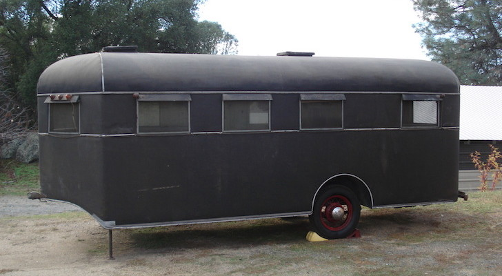 This vintage trailer looks like a horse trailer