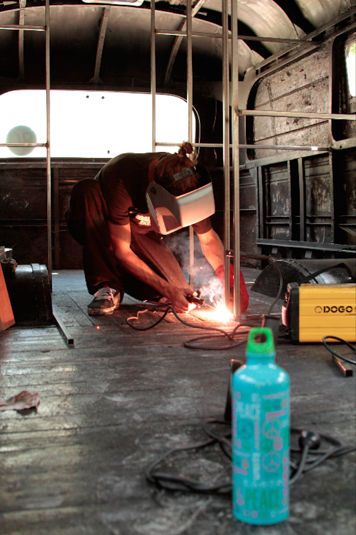 Welding inside a converted bus camper
