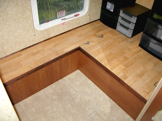After installing the storage drawers in the RV work area