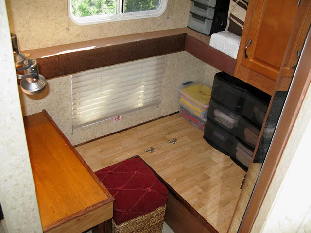 Completed work space in the trailer
