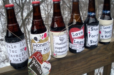 DIY Valentine's Day themed beer labels