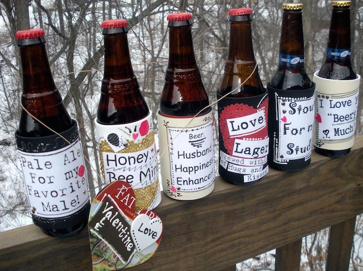 DIY Valentine's Day themed bottle labels