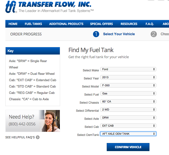 Example of search screen for replacement fuel tank