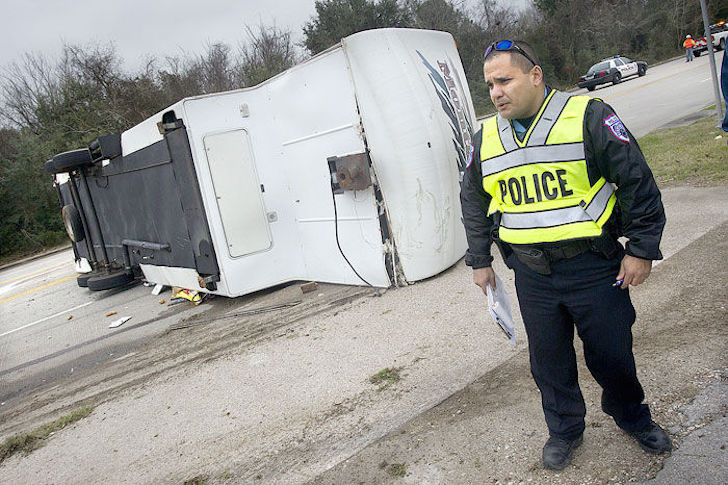Fifth wheel tipped over in Galveston