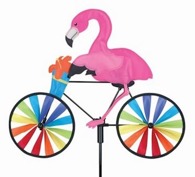 Flamingo on a bicycle wind spinner