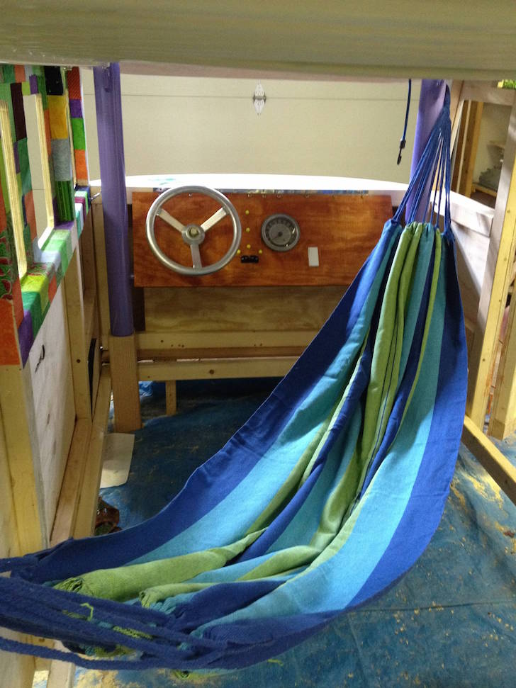 Hammock inside VW bus bed