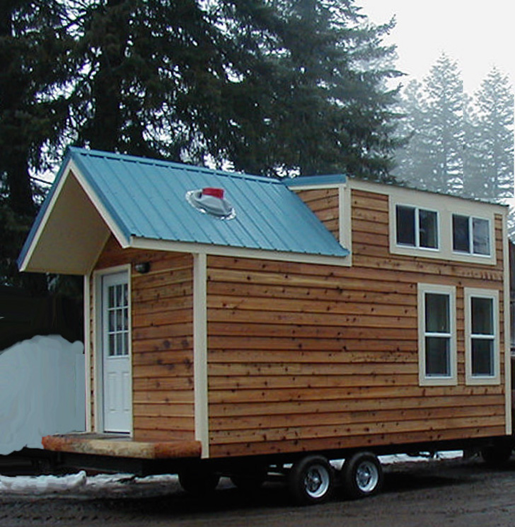 this mobile tiny house looks like a cabin inside and out. Black Bedroom Furniture Sets. Home Design Ideas