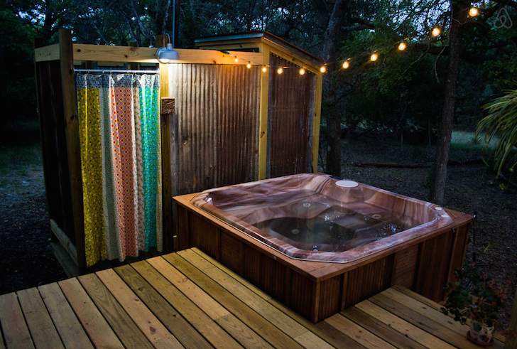 Hot tube near vintage Airstream retreat