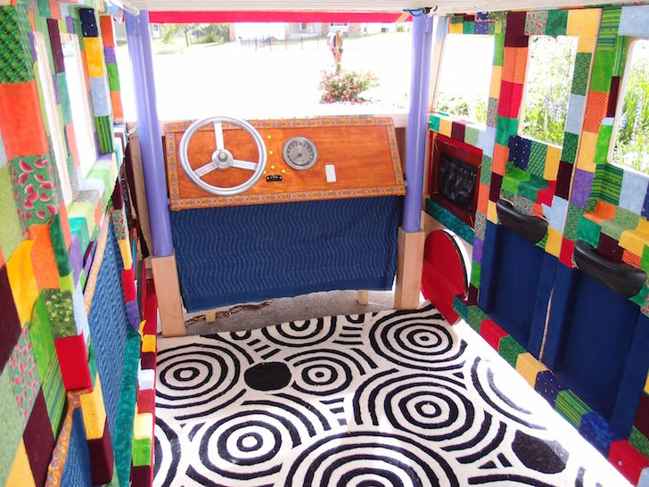Inside the finished bus bed