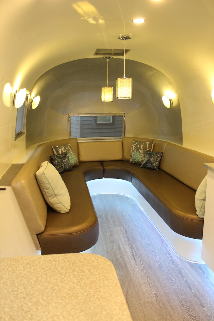 Interior of a vintage Flying Cloud Airstream
