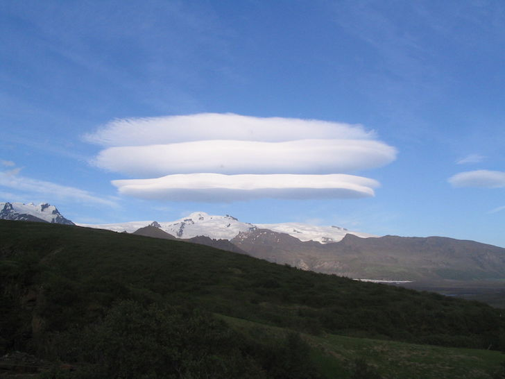 Lenticular clouds above Skaftafell glacier in Iceland