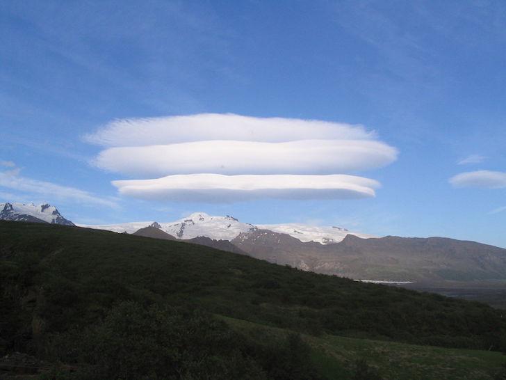 Lenticular clouds above Skaftafell glacier in Iceland