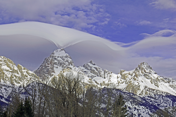 Lenticular clouds over Grand Teton