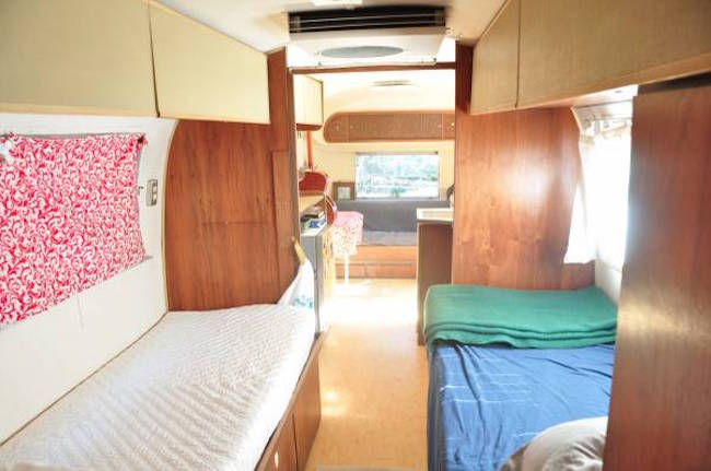 Looking toward the front in a for sale Airstream