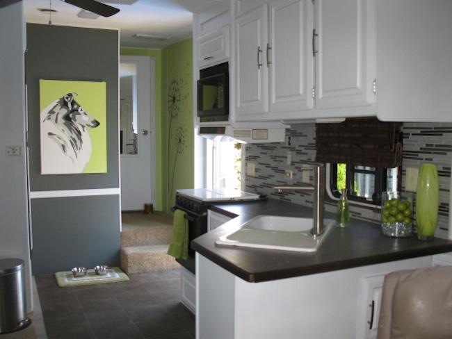 Modern RV camper kitchen