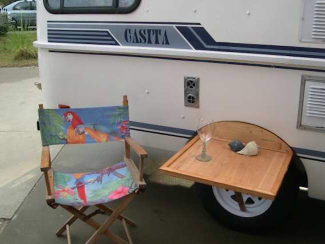 Outdoor Table Fits Between Wheel Well And Tire On Casita