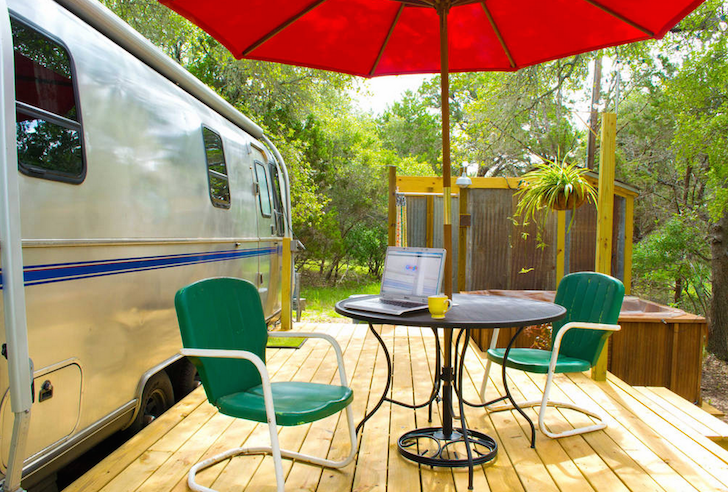 Patio next to Airstream rental