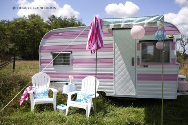 Pink and white camper