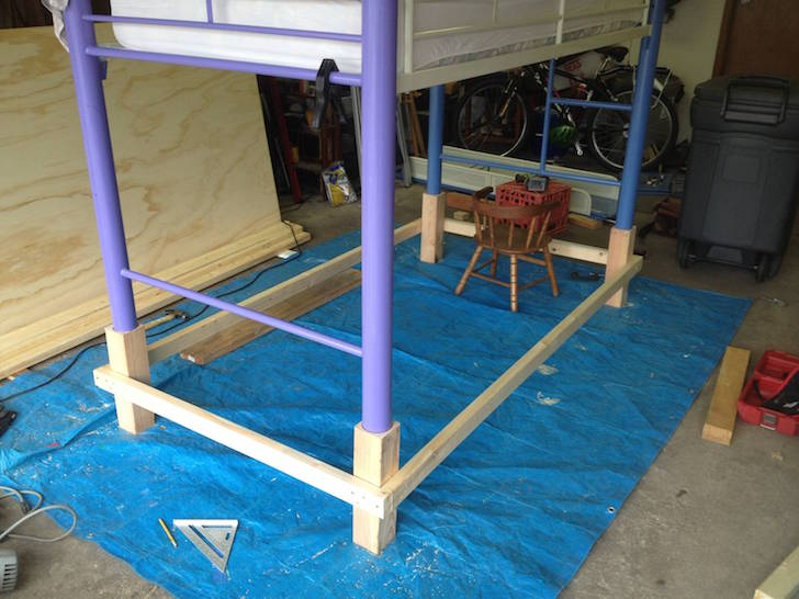 Propped up bed frame