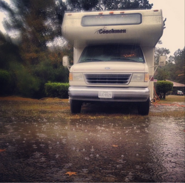 RV in the rain