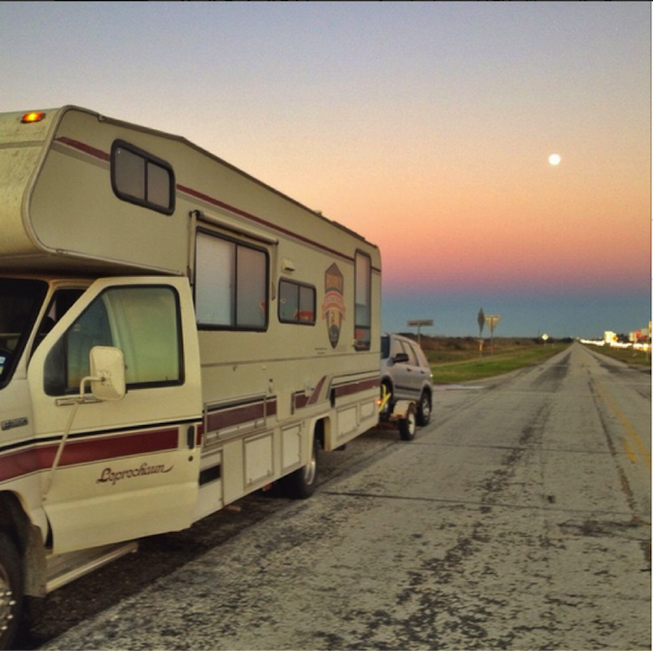 RV on side of road