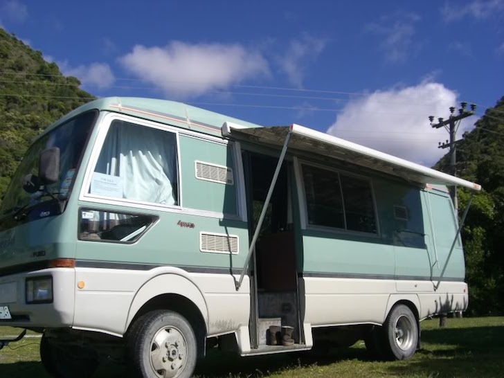 Side view of Fuso motorhome