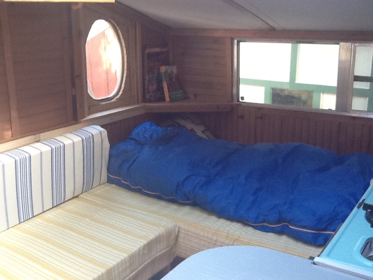 Sleeping area inside a small RV
